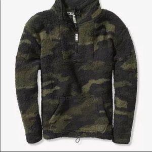 Victoria's secret pink Sherpa pullover camp M or L